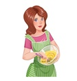 Beautiful girl cooking food vector image vector image