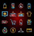 black friday neon icons vector image