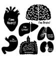 black silhouettes icons human internal organs vector image