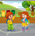 boy and girl meeting in park vector image
