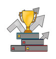 business trophy on stacked books with up arrows vector image