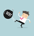 businessman kicking debt bomb ball away vector image vector image