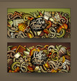 cartoon colorful doodles cafe banners vector image
