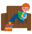 Child boy reading a book sitting in a chair vector image vector image