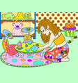 children color girl in childrens room playing with vector image vector image