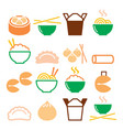 chinese take away food - pasta rice spring rolls vector image vector image