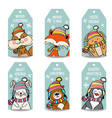 christmas labels collection with animals vector image vector image