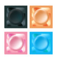 colorful condoms packaging isolated icons set vector image vector image