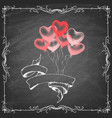 colorful heart shape balloons on chalk board vector image