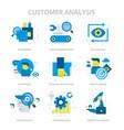 customer analysis flat icons vector image