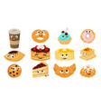 cute and funny baking sweet dessert character set vector image