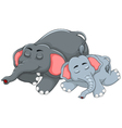 cute elephant cartoon sleeping with her baby vector image vector image