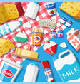 dairy products set collection milk food vector image vector image