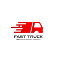 fast truck delivery services logo design cargo vector image vector image