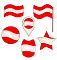 flag of austria performed in defferent shapes vector image vector image