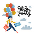 flat poster for black friday young woman holding vector image
