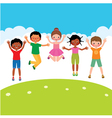 Group of happy jumping children vector image vector image