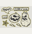 halloween sticker pack on a whte background vector image