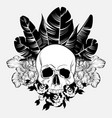 hand drawn human skull with palm vector image