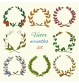 Hand drawn wreaths colored set vector image vector image