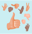 hands deaf-mute different gestures human arm vector image vector image