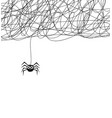 hanging spider and web network vector image