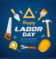 happy labor day craftsman tool on blue vector image vector image