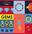 jewelry gems in flat style vector image