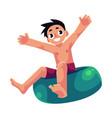 kid boy child riding swim ring enjoying summer vector image vector image