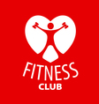 logo in the shape of a heart for a fitness club vector image vector image