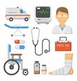 medical icons set care ambulance hospital vector image