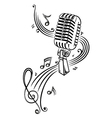 microphone with music notes and clef vector image