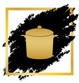 pan sign golden icon at black spot inside vector image vector image