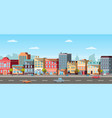 panoramic view of city car and pedestrian vector image