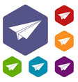 paper airplane icons set hexagon vector image vector image
