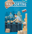 post mail sorting center parcels and letters vector image vector image