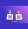 qr code scanning smartphone concept vector image