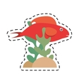 red fish half aquatic environment coral vector image