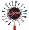 rejected red x pencil pencil idea on white vector image vector image