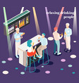 relaxing people isometric background vector image vector image