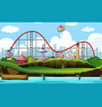 scene background design with roller coaster and vector image vector image