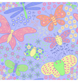 Seamless texture with butterflies and flowers vector image vector image