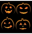 Set of 4 halloween pumpkins vector image vector image