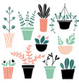 set of cute colorful hand drawn flower pots vector image vector image