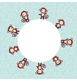 Set of funny brown monkey boys and girls on blue vector image vector image
