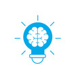 silhouette bulb with brain inside to creative vector image vector image