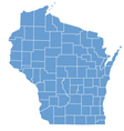 State map of wisconsin by counties vector | Price: 1 Credit (USD $1)