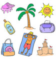 summer element theme of doodle style vector image