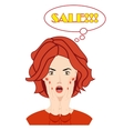 Surprised beautiful woman face with open mouth vector image vector image