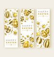 three easter vertical banners with realistic vector image vector image